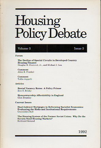 HOUSING POLICY DEBATE. Vol. 3. Issue 3.