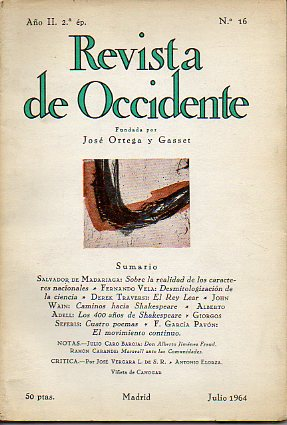 REVISTA DE OCCIDENTE. 2ª Época. Año II. Nº 16.