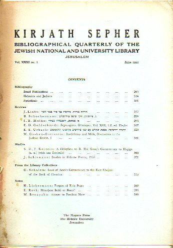KIRJATH SEPHER. A Quarterly Bibliographical Review. Vol. XXXI. Nº 3.