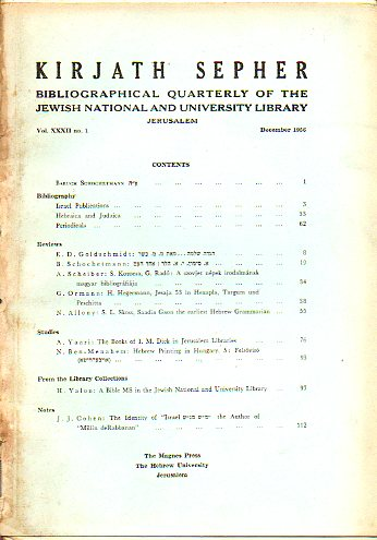 KIRJATH SEPHER. Bibliographical Quarterly Bibliographical Review. Vol. XXXII. Nº 1.