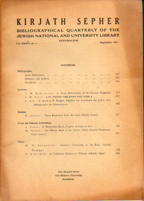KIRJATH SEPHER. Bibliographical Quartely of the Jewish National and University Library. Vol. XXXVI. Nº 4.