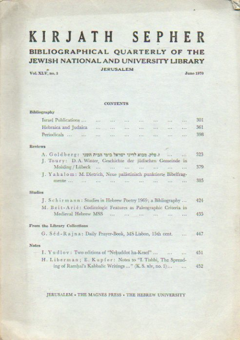 KIRJATH SEPHER. Bibliographical Quartely of the Jewish National and University Library. Vol. XLV. Nº 3.