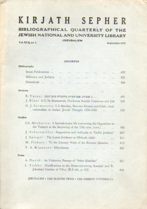 KIRJATH SEPHER. Bibliographical Quartely of the Jewish National and University Library. Vol. XLV. Nº 4.