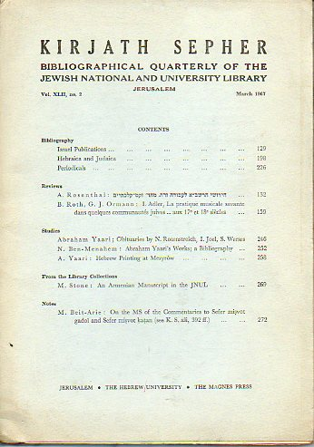 KIRJATH SEPHER. Bibliographical Quartely of the Jewish National and University Library. Vol. XLII. Nº 2.