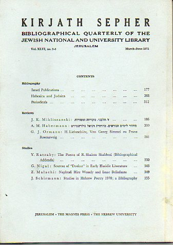 KIRJATH SEPHER. Bibliographical Quartely of the Jewish National and University Library. Vol. XLVI. Nº 2-3.
