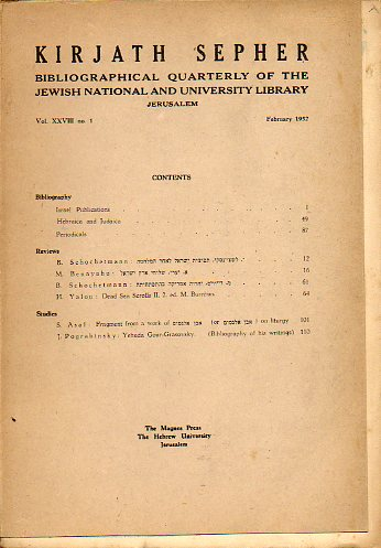 KIRJATH SEPHER. Bibliographical Quartely of the Jewish National and University Library. Vol. XXVIII. Nº 1.