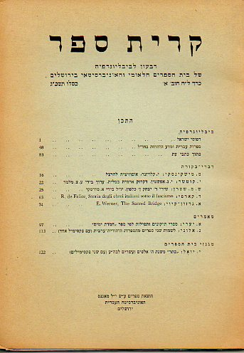 KIRJATH SEPHER. Bibliographical Quartely of The Jewish National And University Library. Vol. XXXVIII. Nº 1.