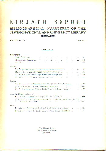 KIRJATH SEPHER. Bibliographical Quartely of The Jewis National and University Library. Vol. XXX. Nº 3-4.