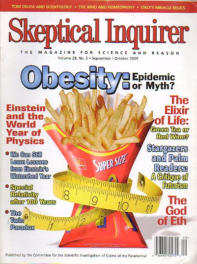 SKEPTICAL INQUIRER. The Magazine for Science and Reason. Vol. 29. Nº 5. Special: Relativity after 100 years; The Twin Paradox; The God of Eth...
