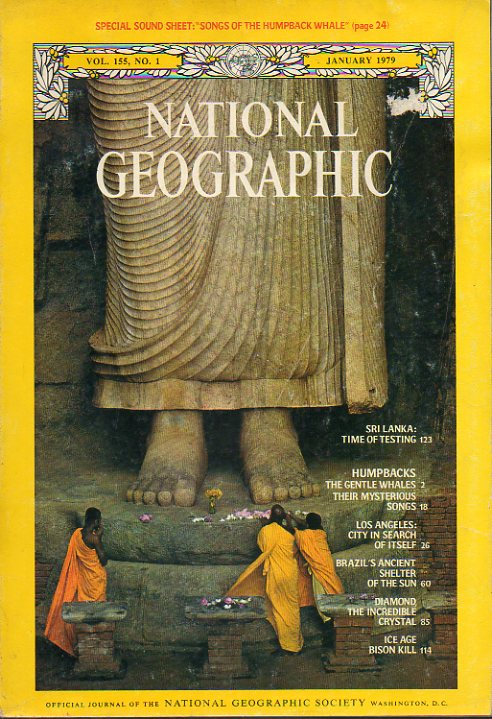 "NATIONAL GEOGRAPHIC. Vol. 155. Nº 1. Sri Lanka: Time of testing; The gentle whales; Brazil"" s ancient; Diamond, the incredible crystal; Ice Age Bison"