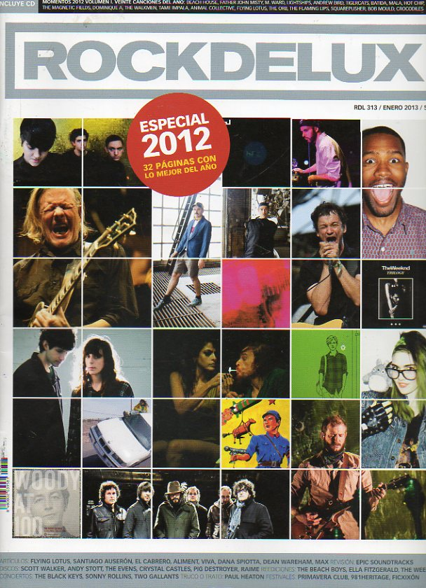 ROCK DE LUX. Nº 313. Especial 2012. Santiago Auserón, El Cabrero, Scott Walker, Flying Lotus... No conserva CD.