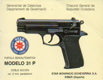 SEMI-AUTOMATIC PISTOL. Modelo 31 P. Doble Acción. Cal. 9 mm. Parabellum.