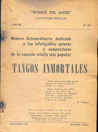 Cancionero Popular: Tangos inmortales
