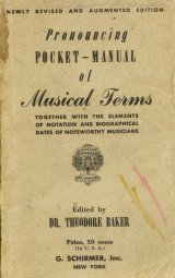 Pronouncing poket - Manual of musical terms